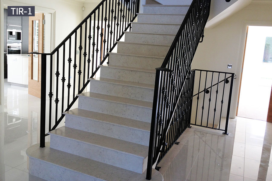 Modern iron staircase railing indoor