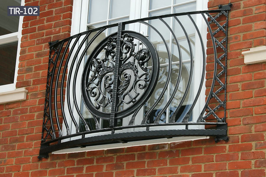 Window wrought iron juliet balcony railing