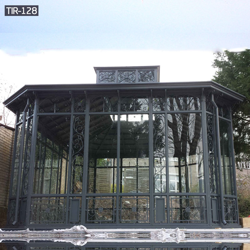 Black rod iron gazebo outdoor
