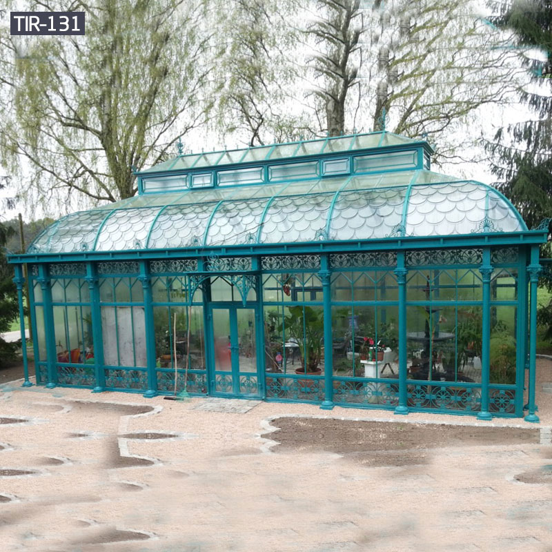 Garden ornamental iron gazebo with glass for sale