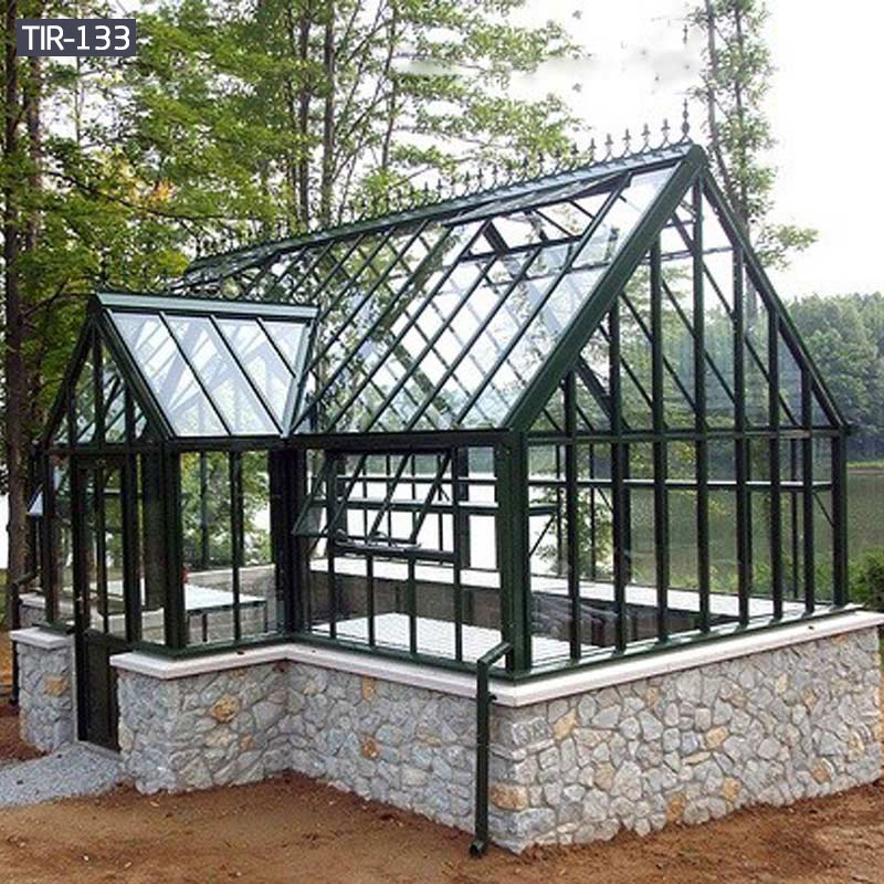 Garden wrought iron pavilion gazebo with glass for sale