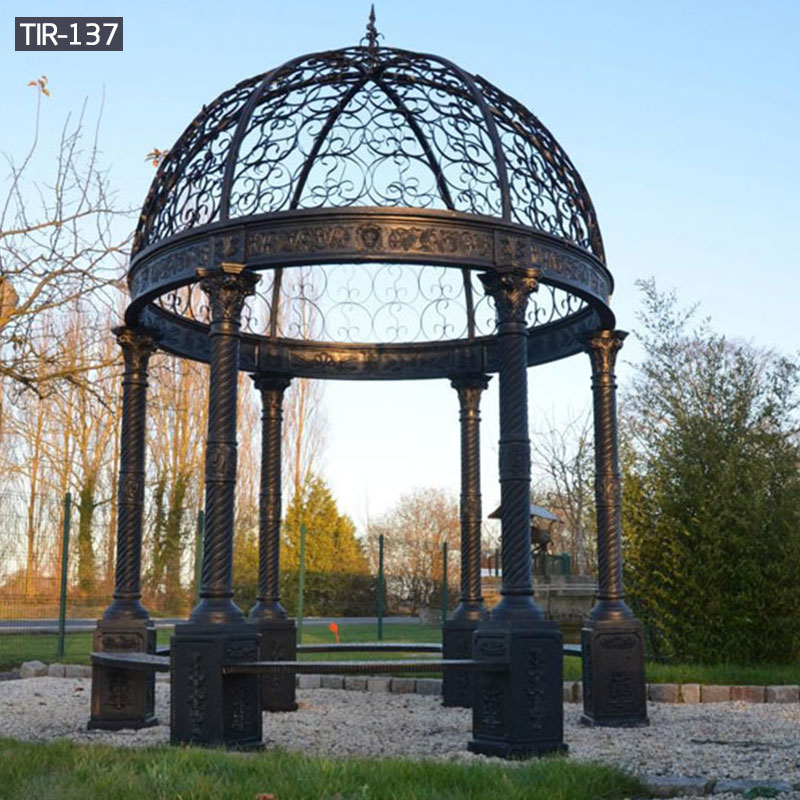 Outdoor round black metal gazebo for sale