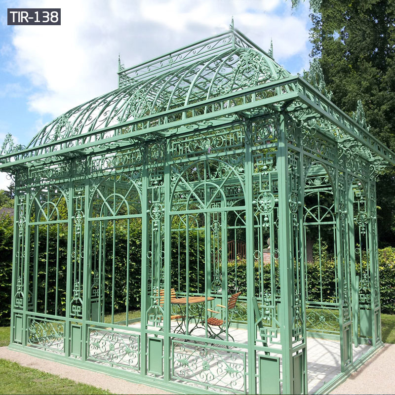 Enclosed iron green house gazebos with glass for sale