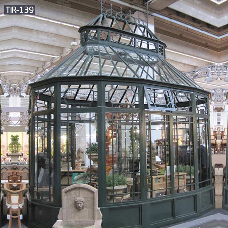 Enclosed metal black flower house gazebos with glass for sale