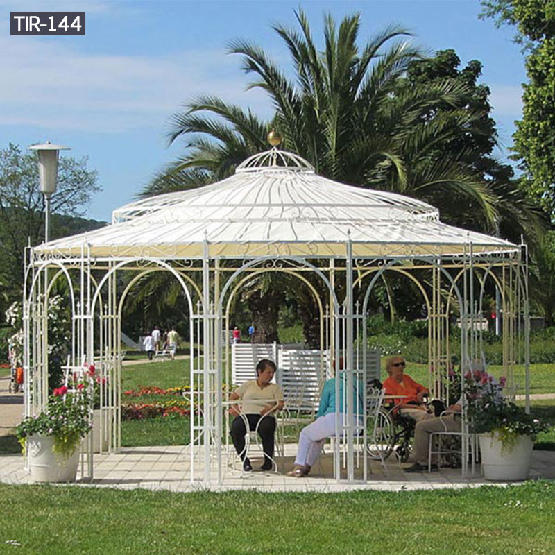 Large garden wrought iron gazebo with hardtop design