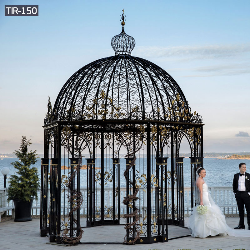 Round black wrought iron wedding gazebo for sale