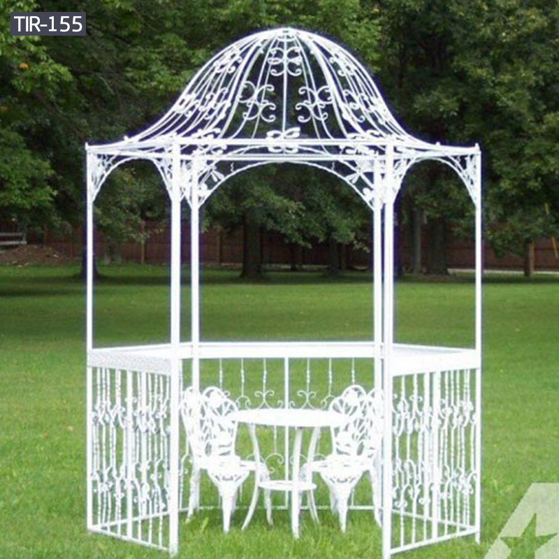 Outdoor patio white metal iron gazebo with table and chairs for sale
