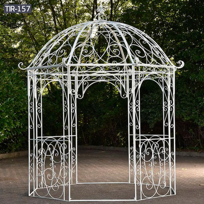 Outdoor white metal gazebo for wedding decoration