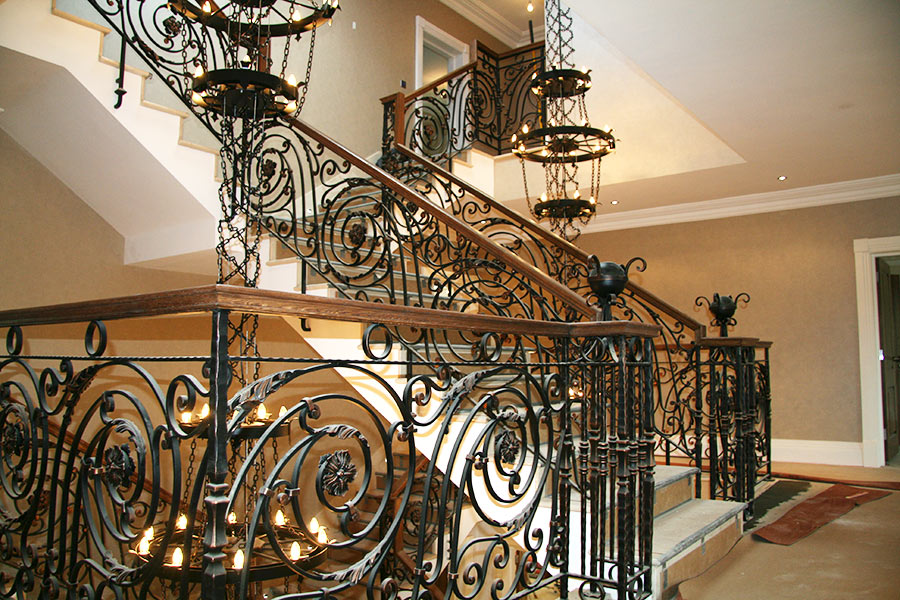 House indoor ornamental metal iron staircase railing manufacturers