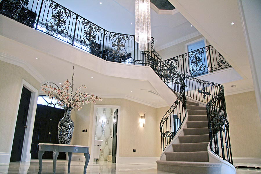 Wrought iron metal stair railing designs for home interior