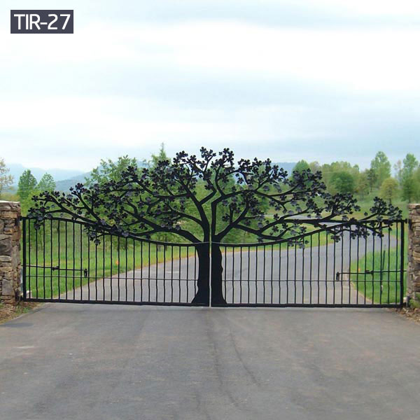 Large ornamental wrought iron tree gates designs