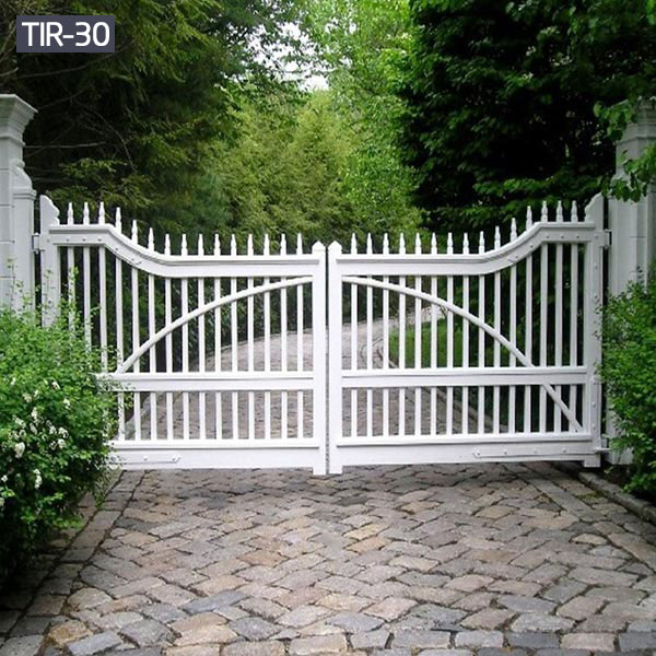 Custom driveway white iron gates for garden