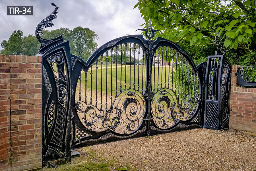 Outdoor ornamental solid iron gates for sale