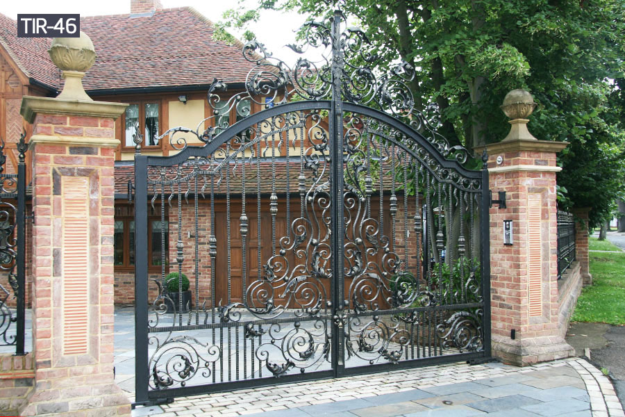 Home driveway security wrought iron gates