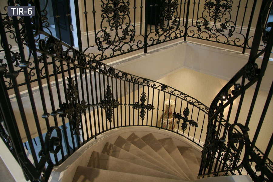 Metal iron curved staircase railing designs for interior home