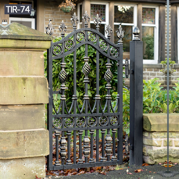 Small wrought iron side door for garden decoration