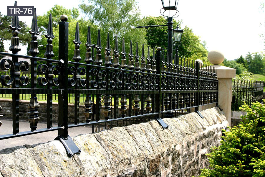 Outdoor black wrought iron fence panelsfor sale