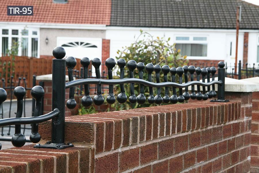 Small black metal yard fence for outside ornamental