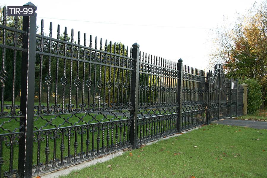 Black wrought iron fenceoutside decor